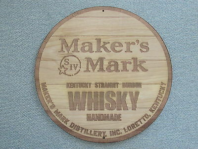 "Maker's Mark Makers Kentucky Bourbon Whiskey 12"" Wood Sign Barrel Top style"