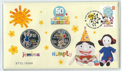 2016 UNC 50c 50 YEARS OF PLAY SCHOOL JEMIMA & HUMPTY 2 COIN PNC