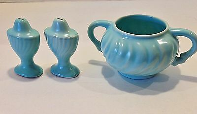 1950's Franciscan Ware Spiral Blue Salt and Pepper Shakers & Sugar Bowl - USA