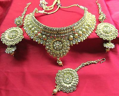Indian Ethnic Bollywood Party Fashion Jewelry Gold Plated  Necklace Set USK 057