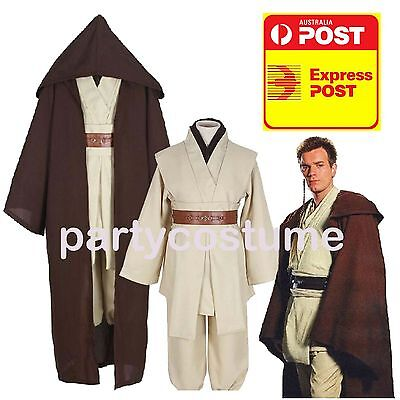 Jedi Master Cosplay Costume Suit Halloween Star Wars Obi Wan Adult S M L Xl