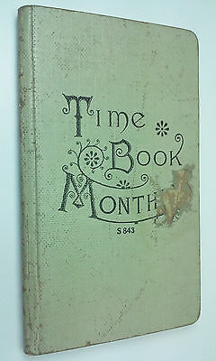 Antique Victorian Era Time Book Monthly Table Of Wages By The Hour Day Week