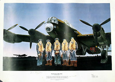 Dambusters 1943 print by Peter Read ltd edition signed David Shannon Len Sumpter