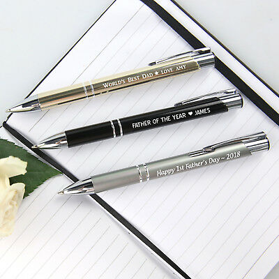 Personalised Engraved Fathers Day Premium Designer Metal Custom Ink Pen for Dad