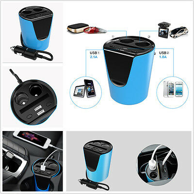 Car SUV Cup Holder Style Dual USB Charger Adapter 2 Way Cigarette Lighter Socket
