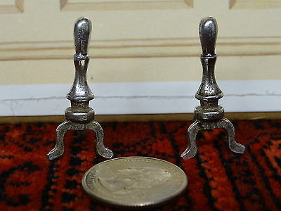 Doll House Miniature Pair of Andirons Cast from Pewter 1:12 maybe Stieff