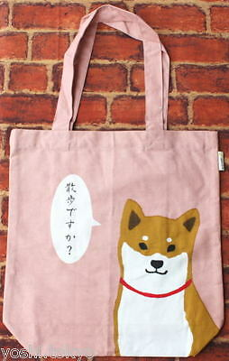 Shiba inu dog Shibatasan sholder tote bag pink JAPAN cotton NEW