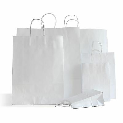 20 x White Paper Party Bags Twisted Handles 15x20+8cm Birthday Gift Favours