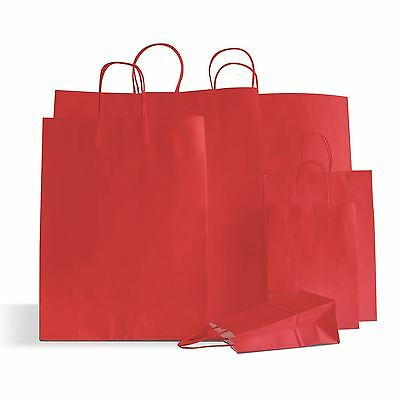 20 x Cherry Red Paper Party Bags Twisted Handles 15x20+8cm Birthday Wedding Gift
