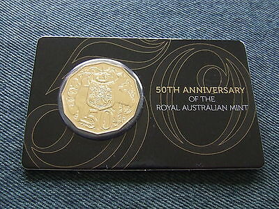 2015  50c Unc. Gold Plated Coin, 50 Anniversary of the Royal Australian Mint