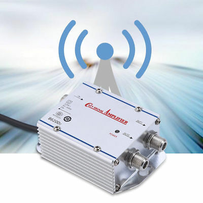 20DB 2-Way Cable TV Antenna Booster Signal Amplifier Splitter HDTV AMP Household