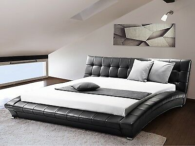 Water bed, quilted, super king size, 6 ft, accessories leather, black