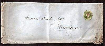 1853 QV 1s embossed green (cut to shape) on cover to Durham WS5029