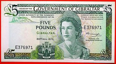 Government Of Gibraltar 5 Pounds 20-11-1975 Uncirculated.