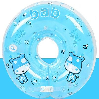 Baby Kids Infant Music Swimming Neck Float Inflatable Swim Ring Double Blue