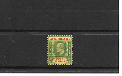 LEEWARD ISLANDS 1907/11 Green & Red/Yellow 5/- SG 45 - m/m