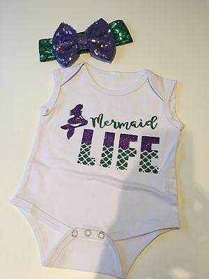 Mermaid Life Baby Vest 0-3 Months and Hair Bow BNWOT