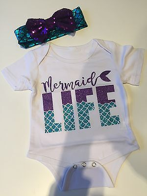 Mermaid Life Baby Vest and hair bow, short sleeve BNWOT 3-6 Month