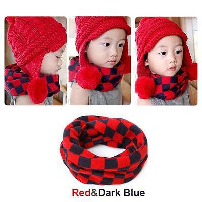 Red/Grey Lattice Girl Boy Kids Winter Knitted Neck Scarf Scarves Snood Tube
