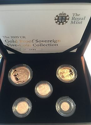 2009 Gold Proof Five Coin Set- £5,£2, Sovereign & Half Sovereign