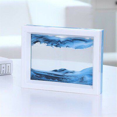 Dynamic 3D Natural Landscape Flowing Sand Picture Art Double Faced (Blue White)