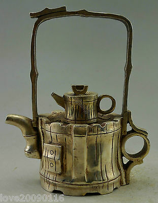 Collectible Decorate Old Handwork Silver Plate Copper Grinding Base Food Tea Pot