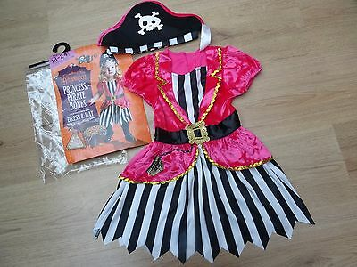 Girls Bnwt Age 3-4 Pink Pirate Fancy Dress Costume + Hat World Book Day