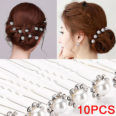 10pcs Crystal Diamante Rhinestone Flower Pearl Hair Pins Slide Clip Grips Bridal