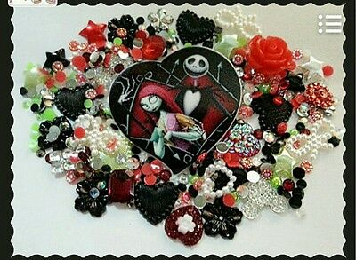 ☆Sally & Jack Nightmare before Christmas themed Decoden kit. Embellishment,cabs☆