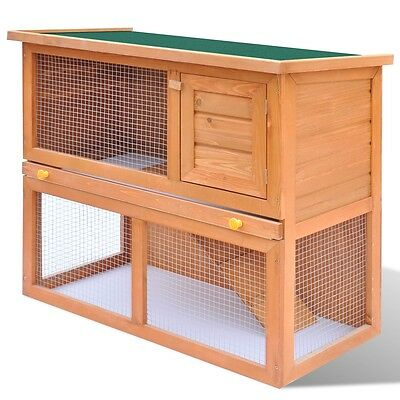 S# Rabbit Hutch Cage Pet Guinea Pig Chicken Coop Ferret Hen Run House Wooden 1 D