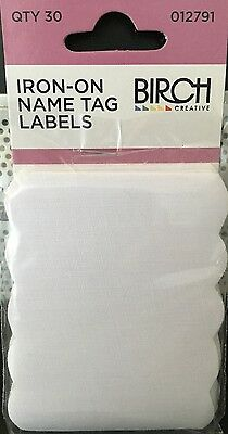 Birch Iron on Name Tag Labels - 30 tags per pack Kids Clothes