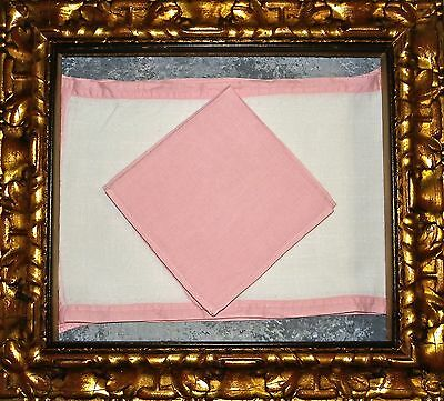 Vintage << Pink/White LINEN Geometric >> 4 SET Placemats & Napkins 8 pc Total ..