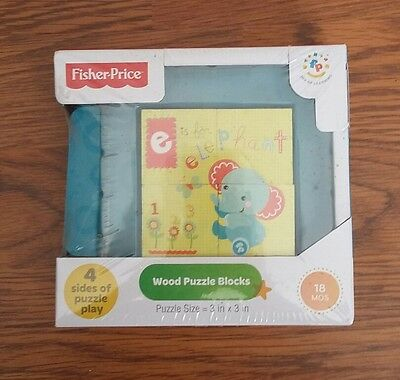 New Fisher Price Wood Puzzle Blocks 18 months Learning Game 4 sides of play