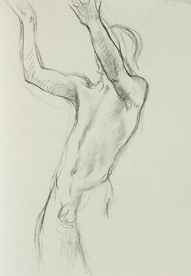 Barbara Dorf - Mid 20th Century Charcoal Drawing, Male Nude with Arms Raised