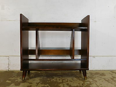 Vintage 1960s Cone Legs Mid Century Modern Solid Wood Bookcase Book Shoe Stand