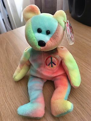 Extremely Rare Multiple Errors TY Beanie Babies Peace Bear with Tag Retired