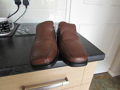 Mens Brown Tan Leather Marks&Spencer Airflex Extra Wide Fit Shoes 8 42 Stitching