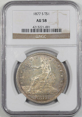 1877-S Trade Dollar Ngc Au-58.   The Reeded Edge!