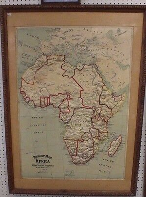 "VTG Rare 1907 Relief Map of Africa 48"" x 33"" Atlas School Supply Chicago Ill"
