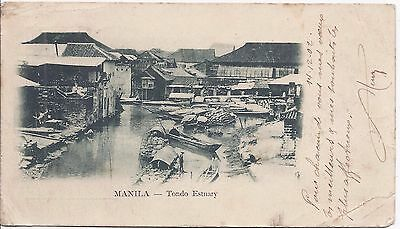 Philippines 1902 Private Mailing card Manila Tondo Estuary used