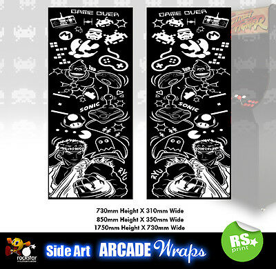 Retro B and W Arcade Side Artwork Stickers Graphics  Laminated All Sizes