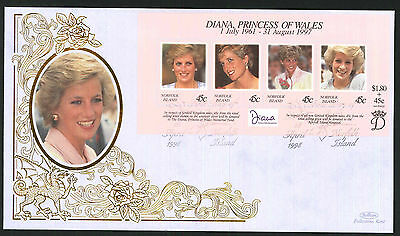 1998 Diana, Princess of Wales - FDC - FDI Norfolk Island Pmk
