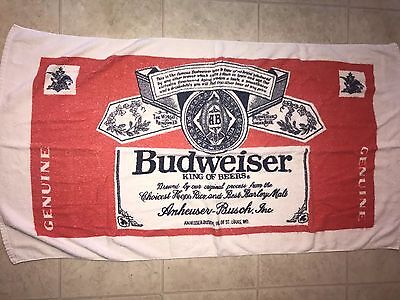 BUDWEISER ~ Vtg 1970's Beach Towel Bath Pool White Sherry Cotton King of Beers
