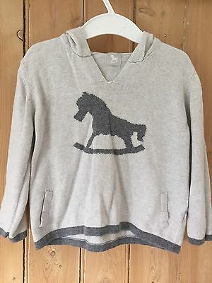 The Little Tailor Grey Rocking Horse Hooded Jumper Size 18-24 Month