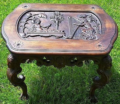 Antique 19th c ORNATE Coffee Table w/EGYPTIAN Carved Wood FIGURAL HEADS & SCENE