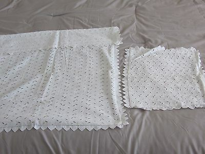 Vintage White Eyelet Coverlet Blanket Pillow Cover Set For Buggy Pram Carriage