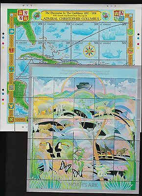 St. Vincent - 1989 Sheetlets - Noah's Ark, 500th Anniv. of Columbus Discovery