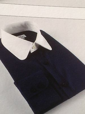Men's blue penny/round collar single cuff shirt - All sizes