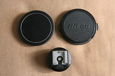 Vintage Nikon Nikkor F 52mm Front Lens Cap/ Camera Body Cap and AS1 Shoe