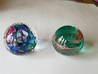"2 Round Art glass Paper Weights - (2 1/2"" Diameter)  1 signed, 1 unsigned"